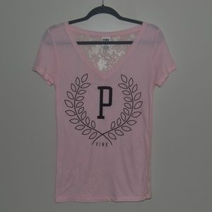 Short Sleeve PINK Shirt w/ Lace Back